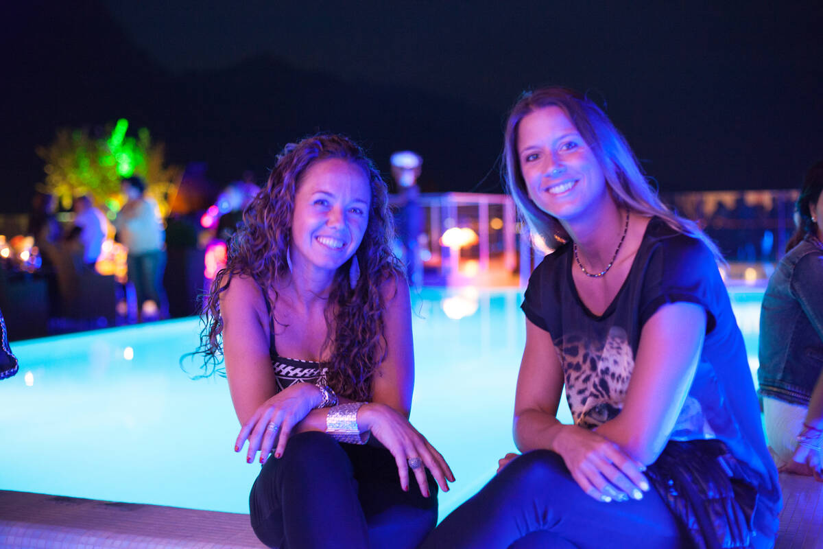 Girls sitting by the pool in the evening