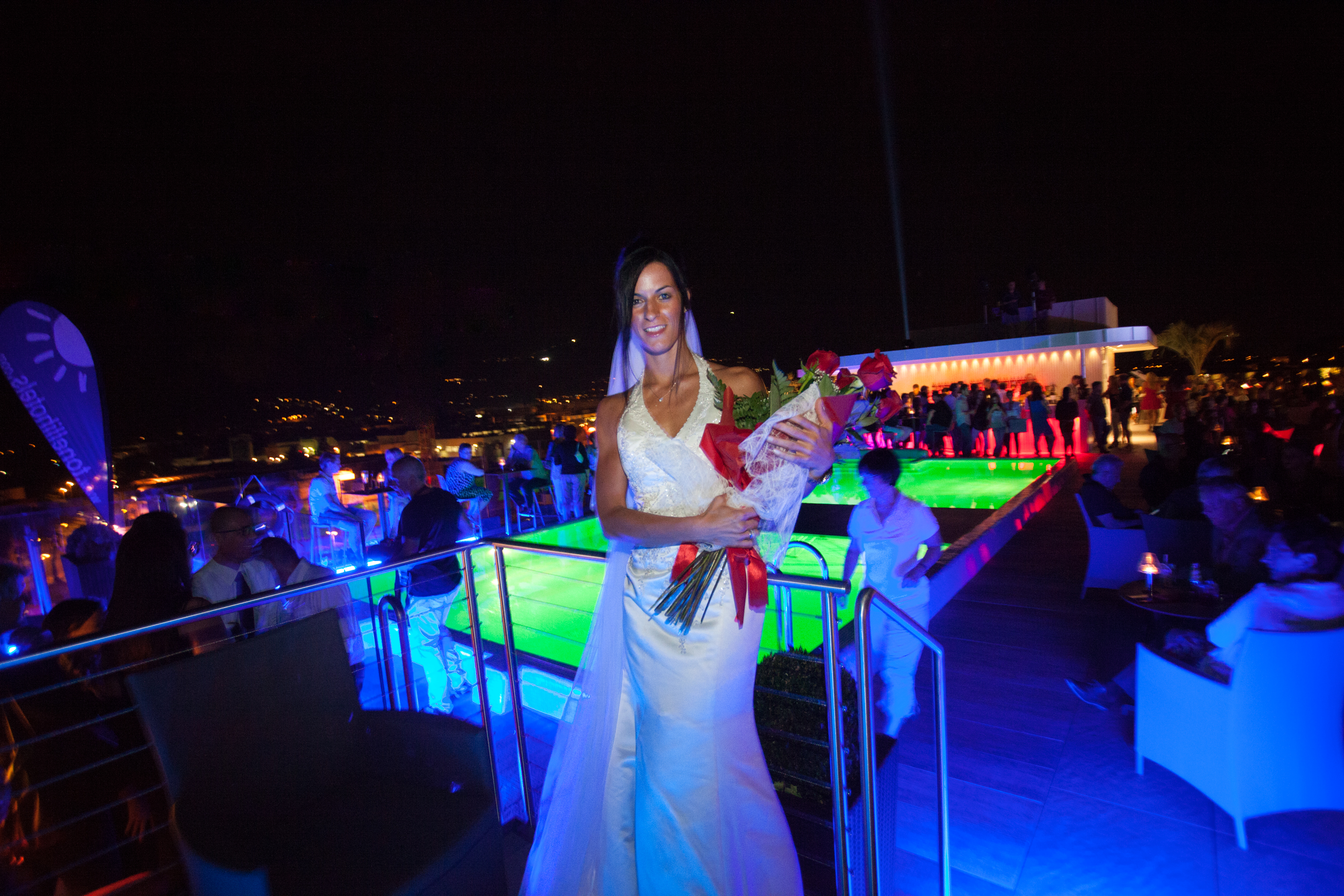 Bride on the hotel terrace